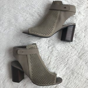 Taupe Perforated Leather Heel Booties